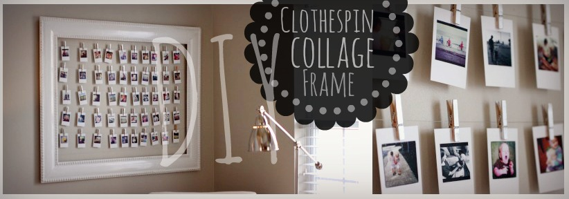 finishing up the diy project posts from my original living room redo heres an easy diy post about how to make a clothespin collage frame